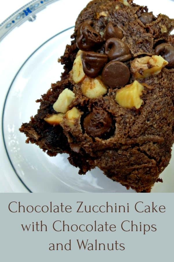 Chocolate Zucchini Cake Recipe with Chocolate Chips and Walnuts #easy #moist #zucchini #chocolatezucchinicake #chocolatechips #summerrecipe