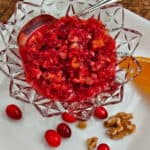 Easy Cranberry Orange Apple Walnut Relish is the easiest, quickest recipe you'll make for Thanksgiving or Christmas, but it's so delicious that it will become a family tradition.