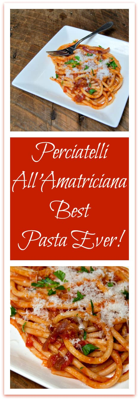 Perciatelli all'Amatriciana truly is the best pasta ever! At least, it's the best pasta I've ever eaten, bar none! Rich concentrated tomato flavor, a hint of heat from the peppers, and the smoky taste of  bacon!