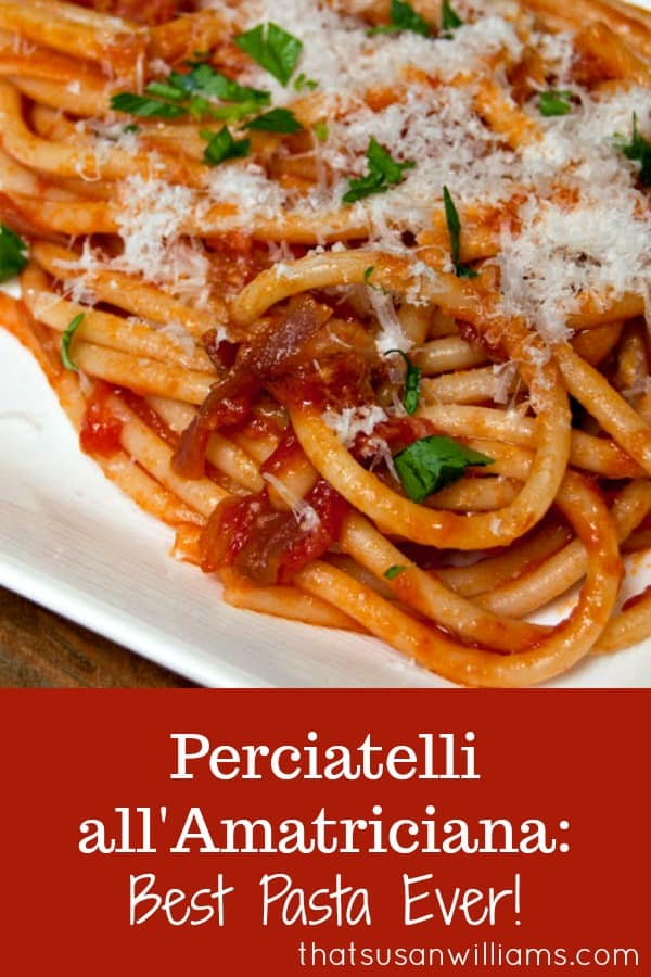 Perciatelli all'Amatriciana truly is the best pasta ever! At least, it's the best pasta I've ever eaten, bar none! Rich concentrated tomato flavor, a hint of heat from the peppers, and the smoky taste of bacon! #pasta #bacon #Italian