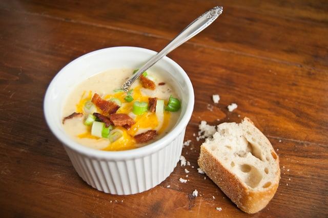 Loaded Baked Potato Leek Soup with Bacon