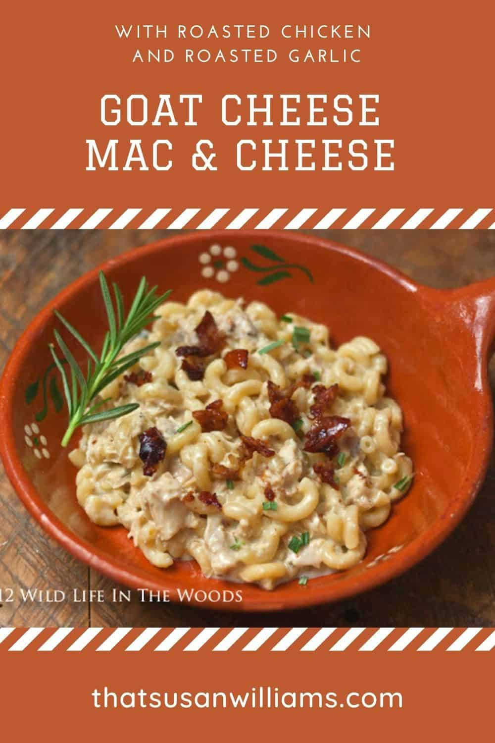 Goat Cheese Macaroni & Cheese with Roasted Chicken and Roasted Garlic is the best mac and cheese I have ever had. And you won't believe the taste of the Chicken Skin Bacon!
