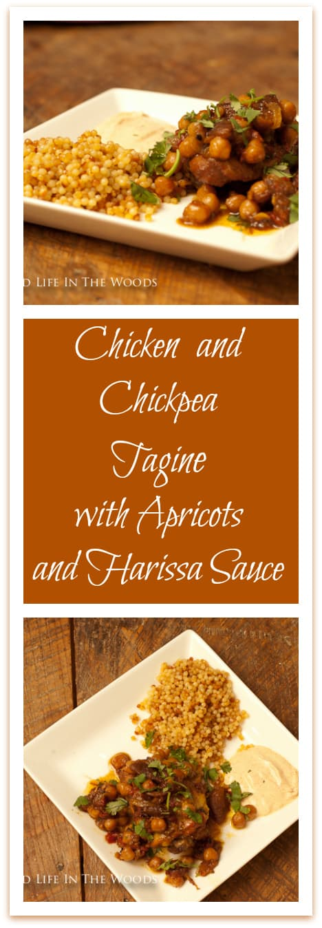 Chicken and Chickpea Tagine with Apricots and Harissa Sauce is so delicious! Go on an adventure in eating to Morocco, for the price of a few spices!