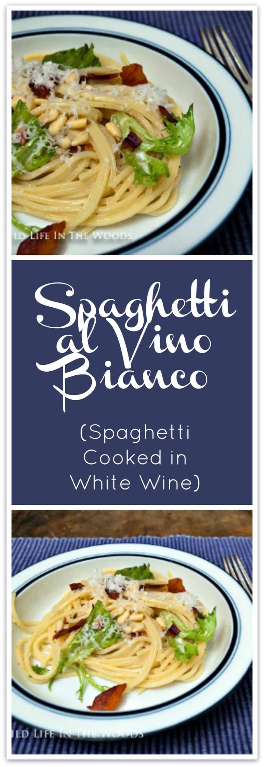 Spaghetti al Vino Bianco is a delicious recipe for pasta, where the pasta makes its own sauce by being finished in white wine.