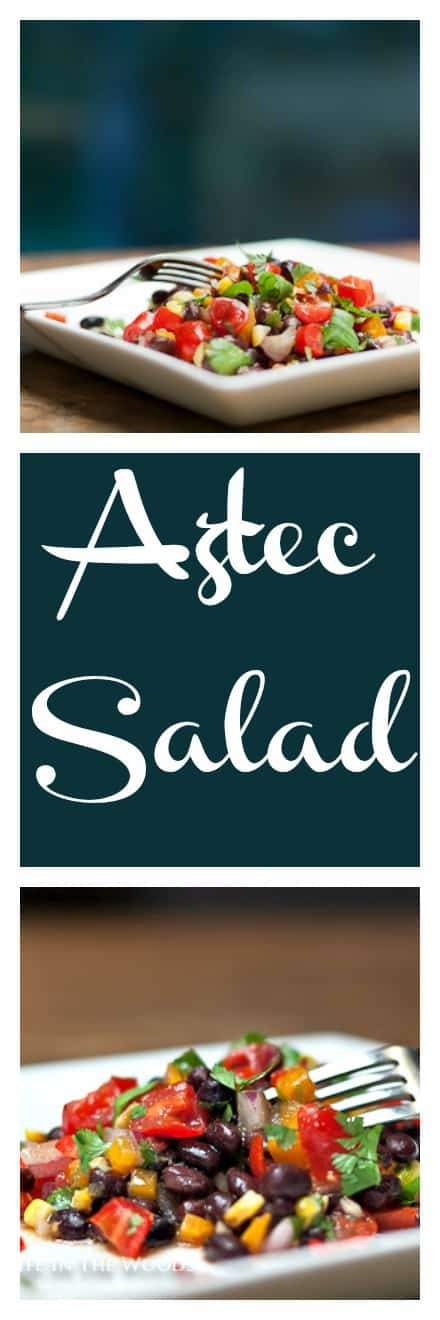 "Aztec Salad is a delectable combination of corn, tomatoes, and black beans: what the Aztecs called the ""three sisters"", dressed with a no-fat dressing."