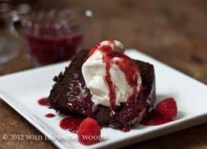 Chocolate Sour Cream Pound Cake with Raspberry Sauce