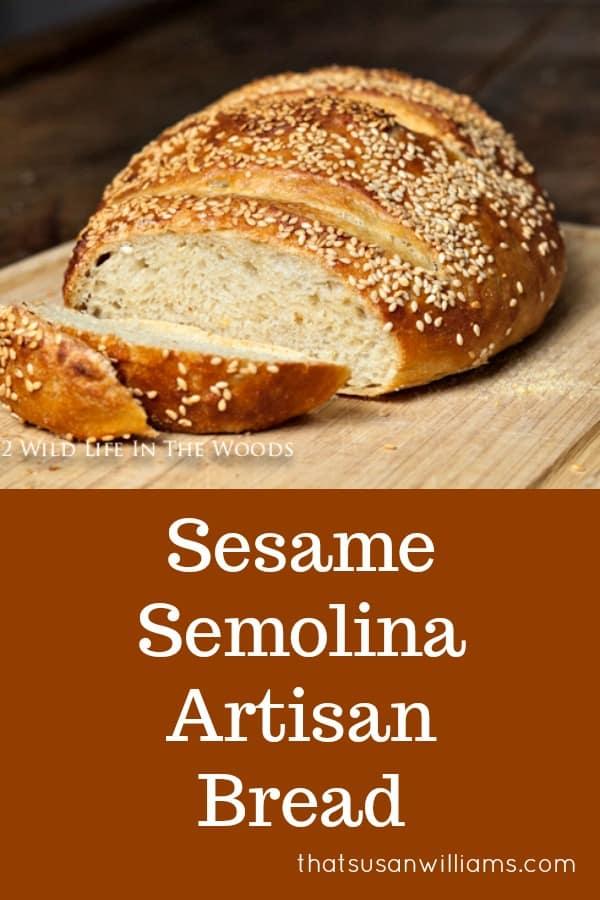 Sesame Semolina Artisan No-Knead Bread #semolina #bread