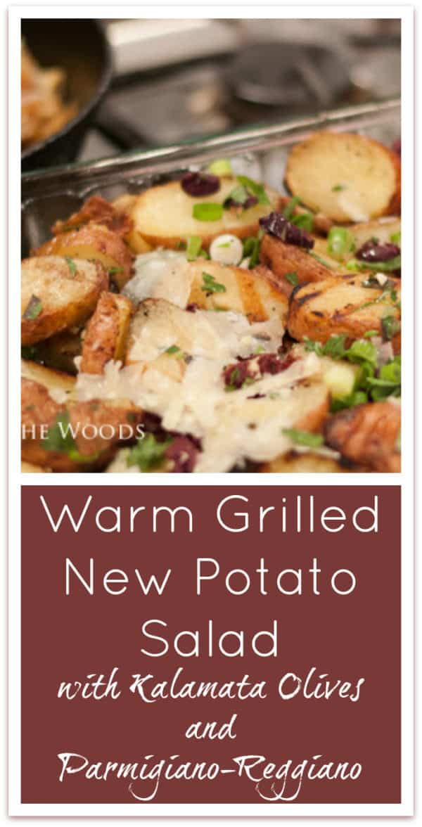 Grilled New Potato Salad with Kalamata Olives and Parmigiano Reggiano is the best recipe for redskin new potato salad I've ever had! #sidedish #potatosalad #grilledside #MemorialDay #4thofJuly #LaborDay