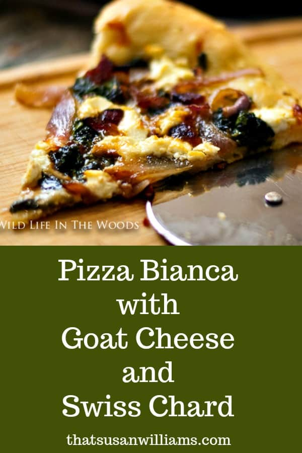 Looking for a pizza recipe that is straight from Italy to use the greens you have lying around? This recipe utilizes Swiss Chard, the best tasting green, garlic, and goat cheese! Yum! #pizza #pizzabianca #swisschard