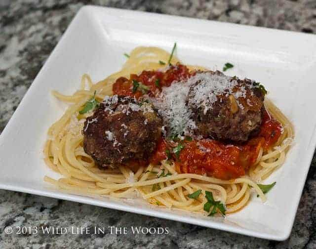 The best Spaghetti and Meatball recipe ever, where the meat in the meatball, is venison.