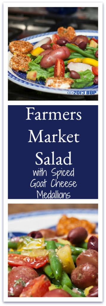 Farmer's Market Salad is a composed salad that can be varied to fit whatever shows up fresh in YOUR produce basket, but the spiced slices of goat cheese are not to be missed! Heavenly! #goatcheese #salad #composedsalad #summer #veggies #freshproduce
