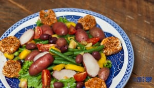 Farmers Market Salad with Spiced Goat Cheese Medallions