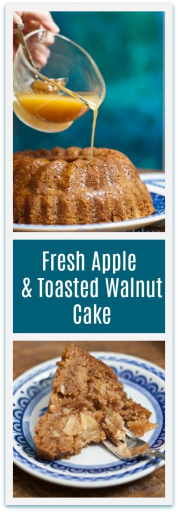 Fresh Apple & Toasted Walnut Cake with Warm Apple Cider Brandy Sauce is a perfect fall dessert.