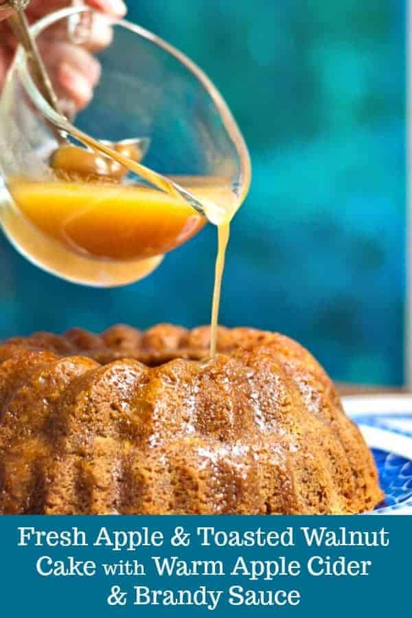 Fresh Apple and Toasted Walnut Cake with Warm Apple Cider and Brandy Sauce #recipe #fall #fallrecipe #falldessert #apple #applecake