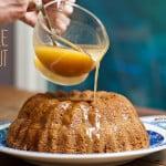 Fresh Apple and Toasted Walnut Cake with Warm Apple Cider and Brandy Sauce #recipe #fall #fallrecipe #falldessert #apple #applecake
