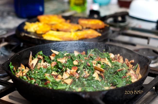 kale, mushrooms, bacon, sautéed polenta