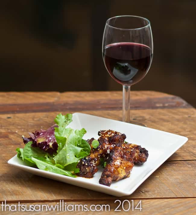 Red wine and chicken wings