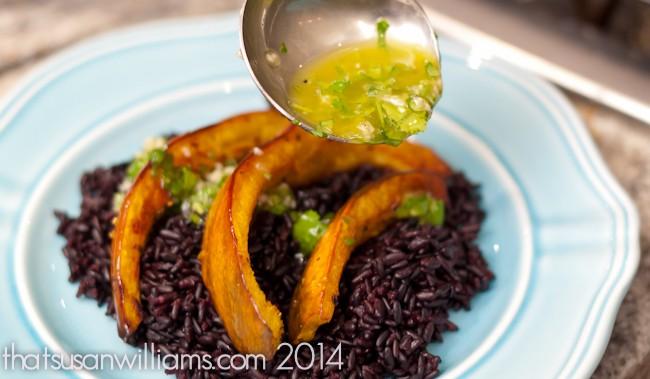 Roasted Acorn Squash with Black Rice