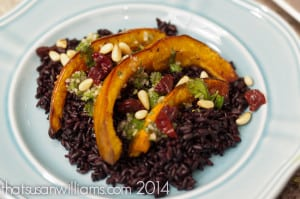 Roasted Acorn Squash with Jalapeño-Lime Vinaigrette and Black Rice