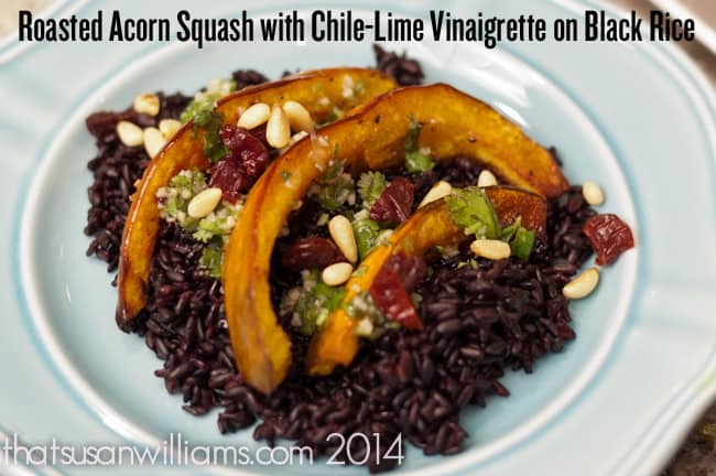 Roasted Acorn Squash with Chile-Lime Vinaigrette on Black Rice