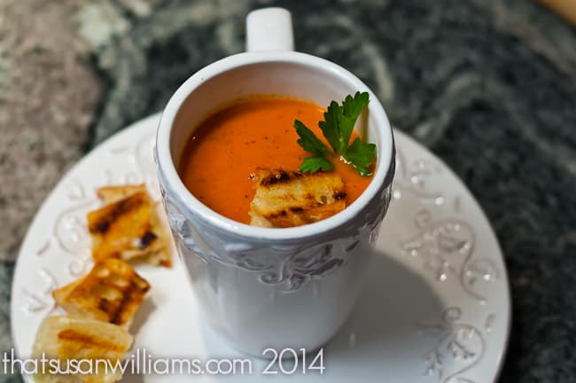 Slow Cooker Tomato Soup with Grilled Cheese Croutons is delicious comfort food, on a chilly day!