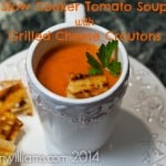 Easy Creamy Homemade Slow Cooker Tomato Soup with Grilled Cheese Croutons