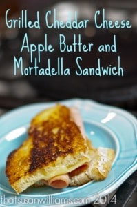 Grilled Cheddar Cheese, Apple Butter and Mortadella Sandwich