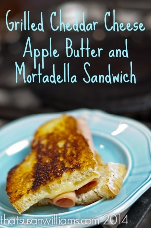 Grilled Cheddar Cheese Apple Butter and Mortadella Sandwich