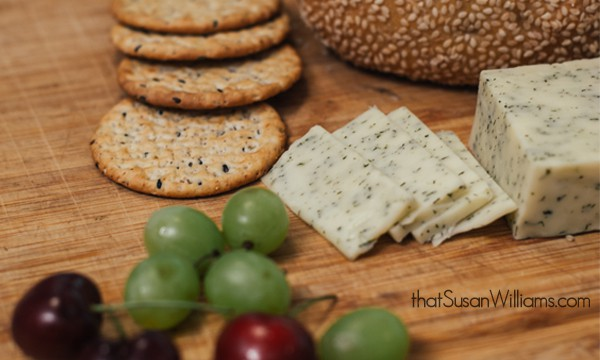 Cabot Garlic & Herb Cheese, with fresh cherries, grapes & crackers