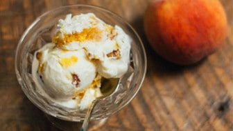 Homemade Bourbon Peach Ice Cream with Buttered Pecans