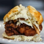 Mimosa Fried Chicken Biscuit with Sweet Potato Butter and Sriracha Slaw.