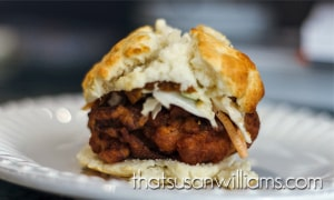Mimosa Fried Chicken Biscuits with Sriracha Slaw an Sweet Potato Butter are the perfect meal to serve during a football game, perhaps with a glass of your favorite Highland Brewing Beer.
