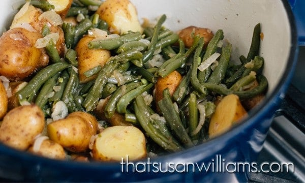 Just like Grandma used to make. More or less. Stove top, Southern Green Beans and Potatoes. #southern #potlikker #greenbeans #newpotatoes #potatoes