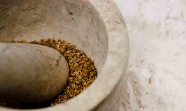 Grinding coriander seeds in mortar and pestle.
