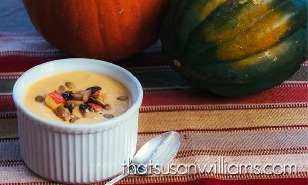 Pumpkin Soup with Apple Cranberry Relish and Spicy Pepitas
