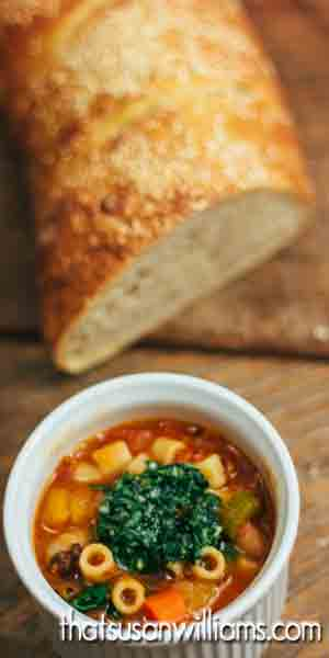 Soup and homemade bread for the bruschetta