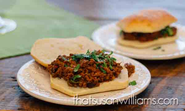 Sloppy Indian Joes: A delicious Sloppy Joe sandwich, with an Indian twist.