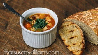 Minestrone with Pesto and Garlic Bruschetta