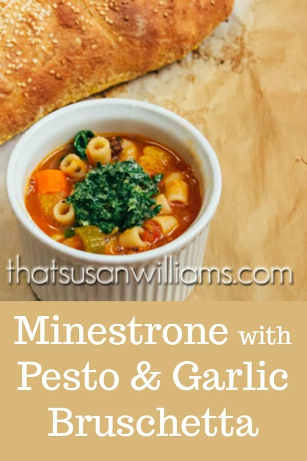 Minestrone with Pesto and Garlic Bruschetta: the pesto really enriches the flavor, and the garlic bruschetta? Well, they're a bonus! #soup #Italiansoup #Italian #vegetablesoup