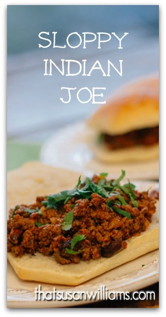Sloppy Indian Joe is a sandwich that combines Indian spices, raisins and pistachios in a new and beautiful way. #venison #sandwich #Indiancuisine