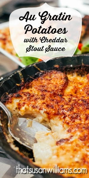 Au Gratin Potatoes with Cheddar Stout Sauce: These Au Gratin Potatoes are the perfect side dish for any family gathering: easy, delicious satisfying, comfort food.