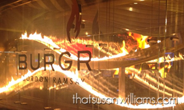 The famous Wall of Flame, on the exterior wall of Gordon Ramsay's BurGR.