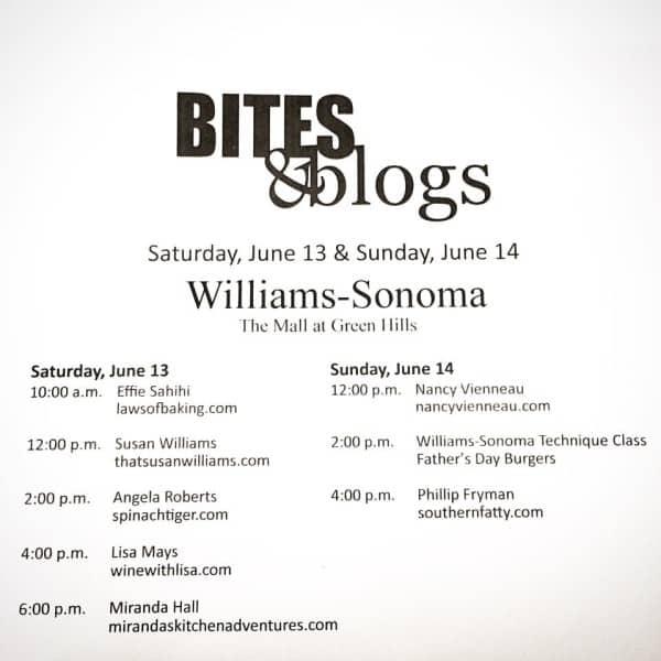 Bites & Blogs at Williams-Sonoma