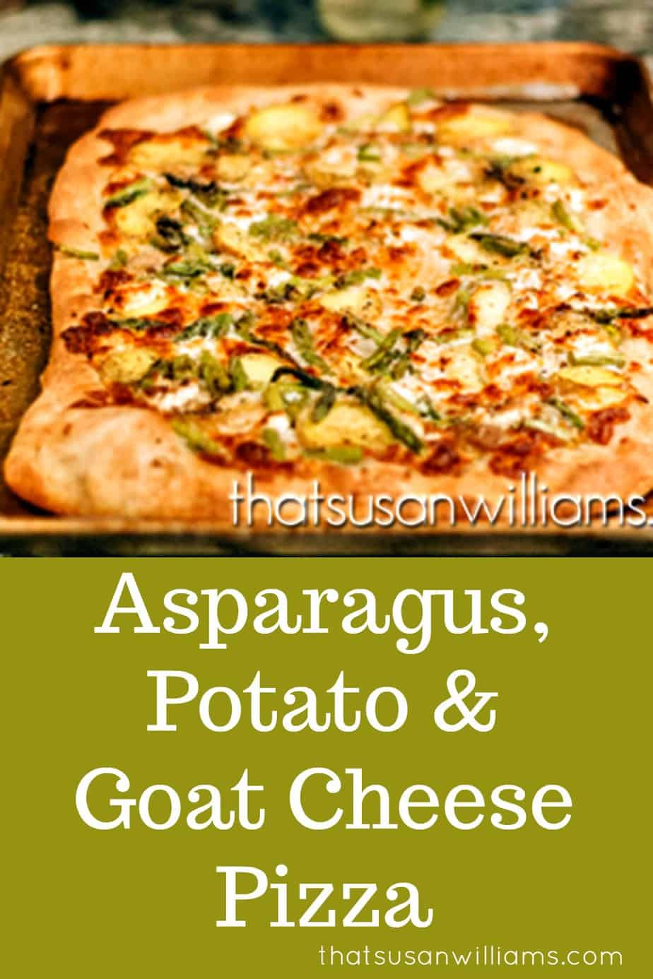 Asparagus, Goat Cheese & Potato Pizza: a vegetarian recipe that is perfect to add to your collection of springtime recipes. #pizza #homemade #gourmet