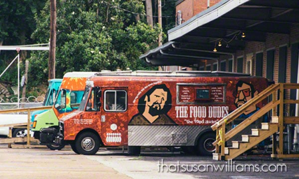 Food Trucks parked outside The Cook's Kitchen