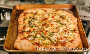 Asparagus Goat Cheese Potato Pizza