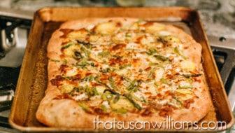 Asparagus, Potato, & Goat Cheese Pizza: