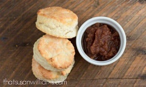 Slow Cooker Apple Butter and Homemade Biscuits #applebutter #applerecipes #slowcooker #homemade #fall