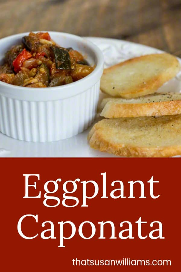 A traditional Italian appetizer you can make in advance, made of eggplant and other vegetables, simmered and served over crostini. Absolutely delicious!!! #eggplant #caponata #appetizer #Italian #recipe #summer #fall