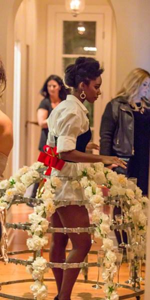 Hoop Skirt Frame that holds Champagne Goblets